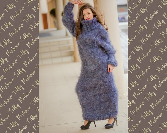 Gray Mohair Dress, Fluffy Turtleneck Dress, Hand Knit Sweater Dress, T neck Mohair Dress, Maxi Mohair Dress, Fetish Dress, Thick Dress T325