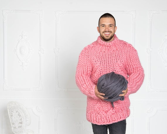 Men Pink Cable knit sweater, Thick knit sweater, Man Giant knit sweater, Men Wool Sweater, Handknit sweater, Merino chunky sweater T624M