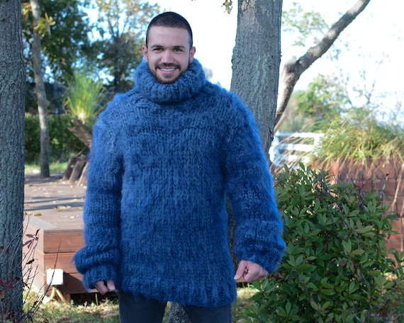 Mohair and wool mix Sweater, Thick knit Sweater in blue, Turtleneck Jumper T673M
