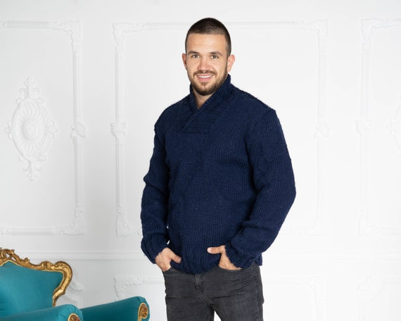 V Neck Men's Sweater in Blue color // Shawl Neck Sweater // Men's Ribbed Shawl Neck Pullover // Deep V Neck Jumper // Shawl Neck T638M