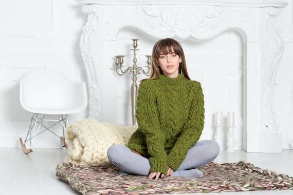 Woman chunky sweater. Hand knit sweater. T neck  sweater. Big knit sweater. Cable sweater. Virgin wool sweater. Turqoise wool sweater T599