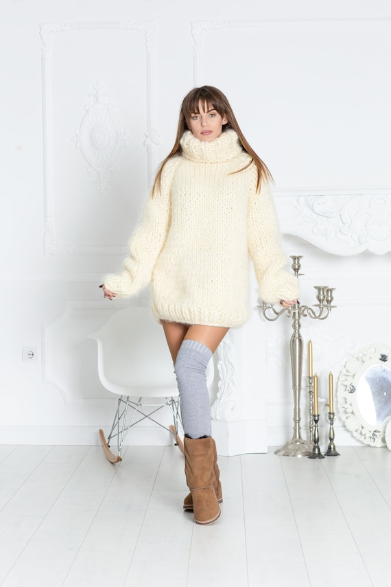 10 strands Mohair Sweater, Chunky Knit Cream Turtleneck Pullover T582