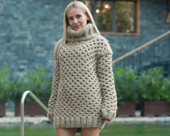 Ready to ship sweater in size 3XL, Eco wool Sweater, Honeycomb hand knitted woolen jumper T811