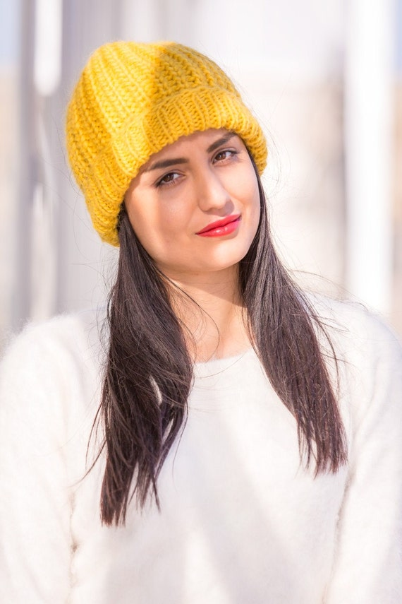 Yellow Wool Hat Woolen Beanie Hand Knitted Hat Slouchy Hat  883f839770f