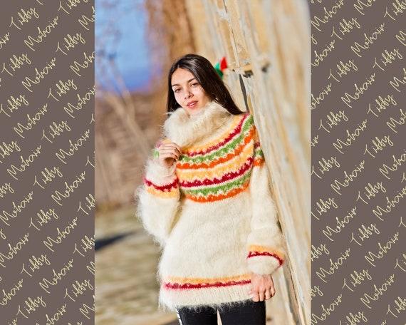 Cream Mohair Sweater, Icelandic Sweater, Hand Knit Sweater, Men Mohair Sweater, Norwegian Sweater, Soft Sweater, Nordic Sweater T239