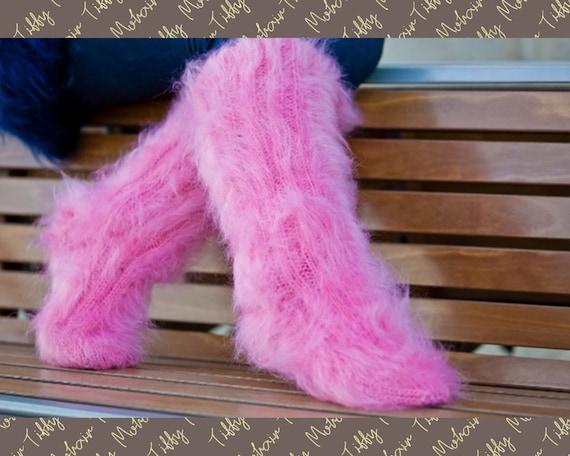 Mohair Socks, Hand Knit Legwarmers, Fuzzy Socks, Fluffy Socks, Winter Socks, Warm Socks, Fetish Socks, Wool Socks, HAnd KNitted Socks  T179c