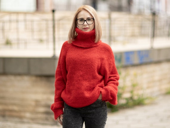 Red Mohair sweater , Fuzzy Turtleneck Jumper T1075