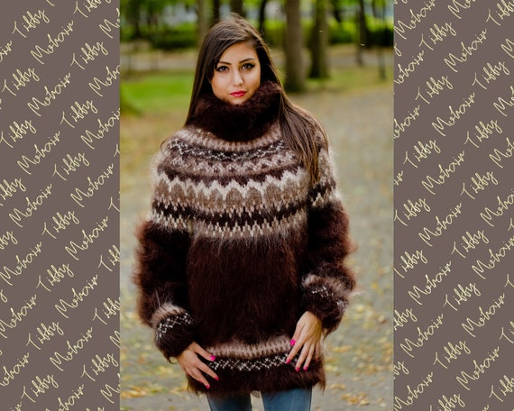 Brown Mohair Sweater, Icelandic Sweater, Hand Knit Sweater, Men Mohair Sweater, Norwegian Sweater, Fluffy Huge Sweater, Nordic Sweater T159