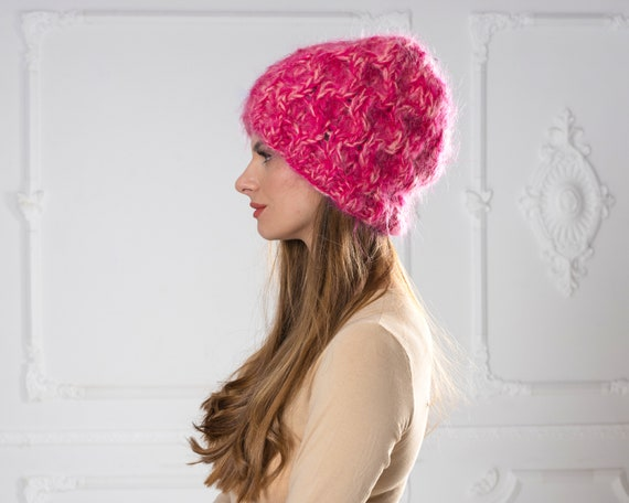 4 Strands Pink  Melange Mohair Hat, Cable knit Hat, Fluffy Mohair Beanie, Slouchy Hat, Fluffy Hat  T1002