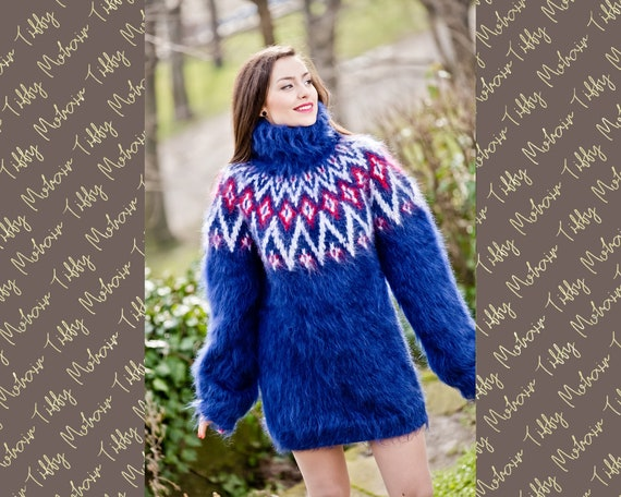 Blue Mohair Sweater, Icelandic Sweater, Hand Knit Sweater, Men Mohair Sweater, Norwegian Sweater, Fluffy Huge Sweater, Nordic Sweater T299