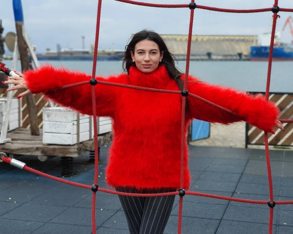 Red Fluffy Mohair Sweater, Turtleneck Sweater, Hand Knitted Sweater, Fluffy Sweater, Huge Oversized Sweater, Mohair Fetish T941