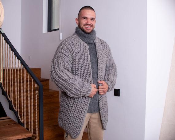 100%  Wool Cardigan, Hand knitted Cradigan, Oversized Cardigan, Knit Jacket, Wool Coat, English rib Cardigan Coat, Chunky Cardigan T888M