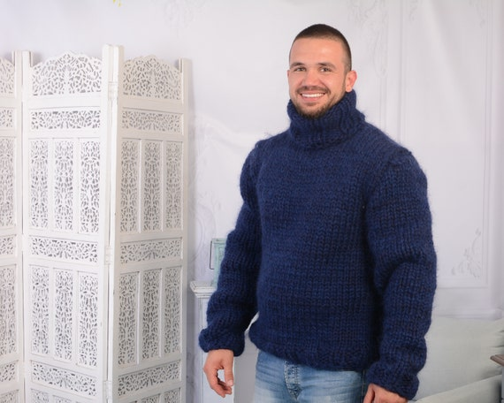 6 strands Mohair and wool mix sweater, Chunky Navy Blue Jumper , Plain hand knitted Sweater T789M