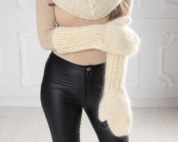 Cream Mohair Mittens, Hand Knit Gloves, Mohair Fetish Mittens, Knitted Mittens, Fluffy Mittens, Handmade Mittens, Wool Winter Mittens  T1011