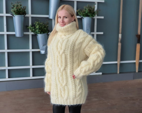 Ready to ship in size 4 xl ,5 strands Cream Mohair Sweater, Cables Sweater, Hand Knit Sweater, Oversized Sweater, Chunky Sweater T942