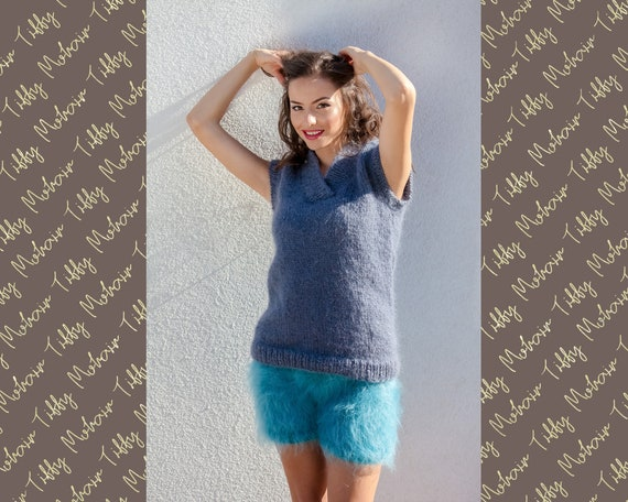 Short Sleeve Sweater, Hand Knit Vest, Collared Mohair Sweater  T400