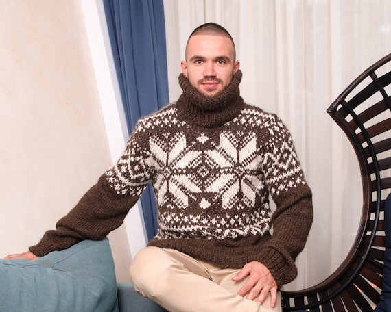 Slouchy fair isle or nordic sweater in pure  alpaca yarn, Norwegian jumper in natural colours T864M