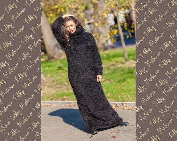 Black Mohair Dress, Knit Sweater Dress, Turtleneck Maxi Dress, Chunky Mohair Dress, Long Fetish Dress, Winter Dress , Knitted Dress T391