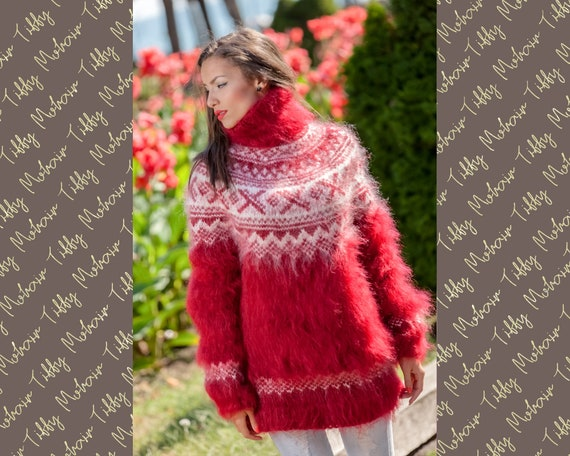 Red Norwegian Sweater, Hand Knit Mohair Sweater T352