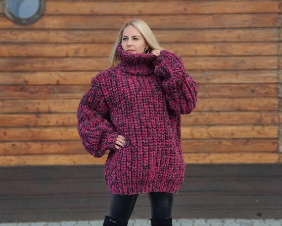 Oversized Wool Sweater, English rib chunky jumper, Hand knitted sweater, Thick Hand Knitted Jumper T 953