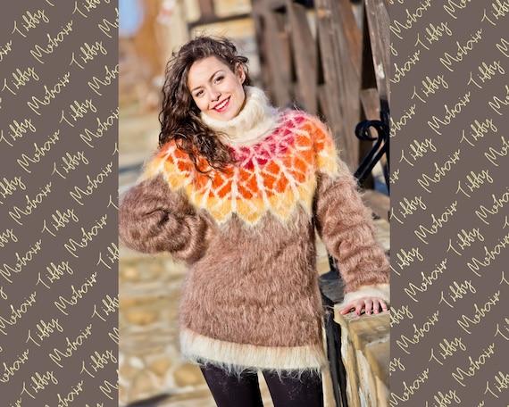 Beige Mohair Sweater, Icelandic Sweater, Hand Knit Sweater, Men Mohair Sweater, Norwegian Sweater, Fluffy Huge Sweater, Nordic Sweater T217