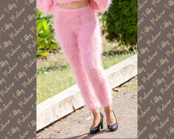 Pink Mohair Pants, Hand Knit Trousers, Mohair Leg Warmers , Fetish Pants, Fluffy Trousers ,Fuzzy Mohair Leggings, Thick Mohair Pants T359