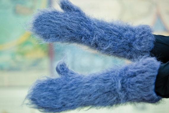 Blue Mohair Mittens, Hand Knit Gloves, Mohair Fetish Mittens, Knitted Mittens, Fluffy Mittens, Handmade Mittens, Wool Winter Mittens  T191