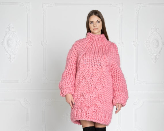 Pink Cable knit sweater, Thick knit sweater, Woman Giant knit sweater, Women Wool Sweater, Handknit sweater, Merino chunky sweater T624W