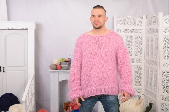 Pink  Big neelde Knit Mohair Sweater, Fluffy sweater, See through sweater T723M