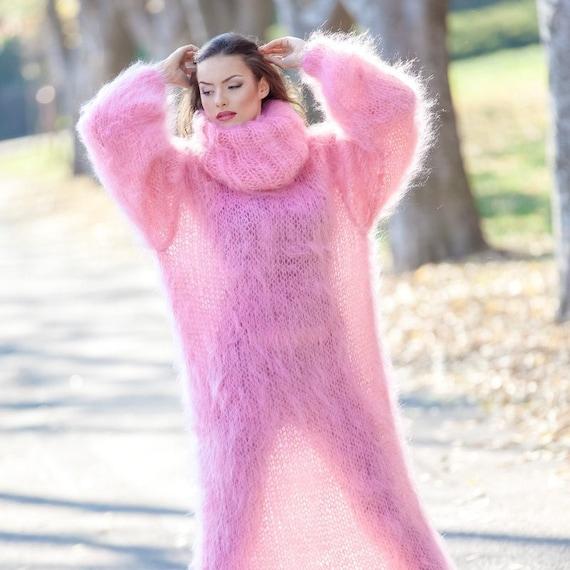 Mohair dress, Hand Knit Dress, Holes Dress, Sweater Dress, Turtleneck Dress, Maxi Dress, Loose Dress, Knitted Winter Robe, Fetish Dress T392