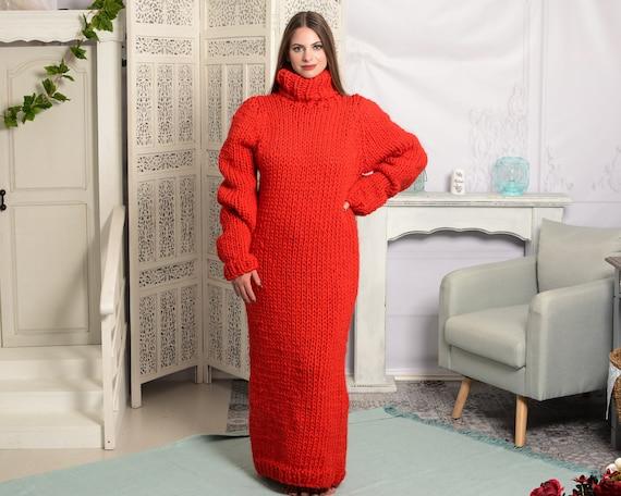 Red wool Dress, Knit Sweater Dress, Turtleneck Maxi Dress, Chunky Woolen Dress, Long Fetish Dress, Winter Dress , Knitted Dress T783