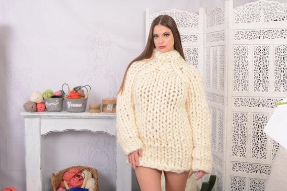 Oversized merino wool sweater, hand knitted jumper, Organic knit turtleneck sweater, women pullover  T717W