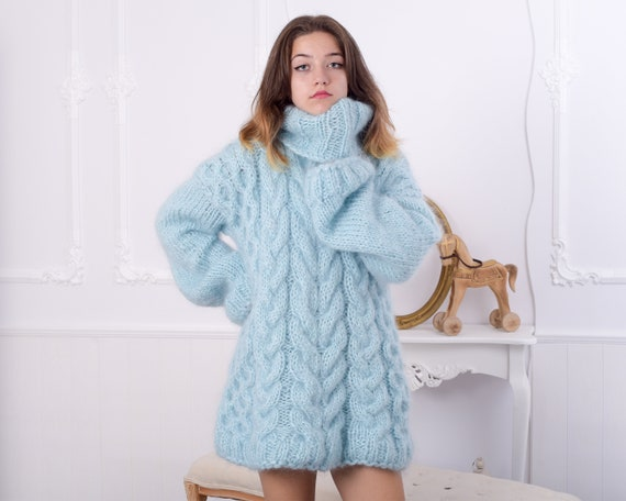 Fluffy Blue Mohair Sweater, Chunky Turtleneck, Cable Knit Pullover, Unisex top, Hand Knit men sweater, knit women sweater