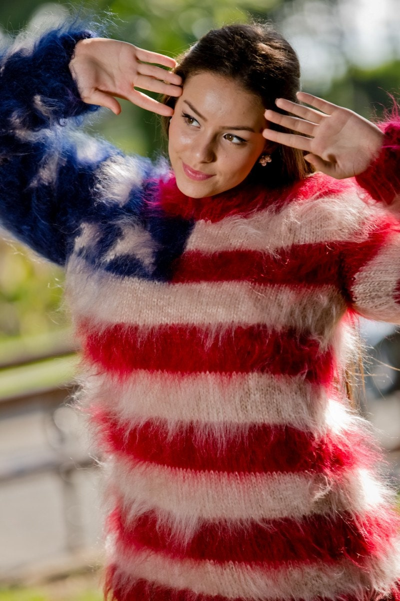 d5e603eb419356 American Flag Sweater, Fluffy Mohair Sweater, Mohair Pullover, Hand Knit  Sweater, Crewneck Sweater, Soft WInter Sweater, Chunky Sweater T110