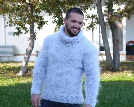 Stylish men's mohair sweaters, Gray fluffy Mohair sweater T670M