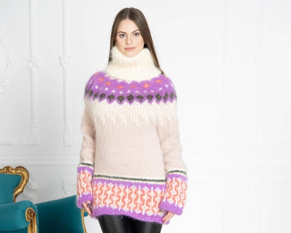 Icelandic Mohair Sweater, Hand Knit Sweater, Women Mohair Sweater, Norwegian Sweater, Fluffy Huge Sweater, Nordic Sweater T648
