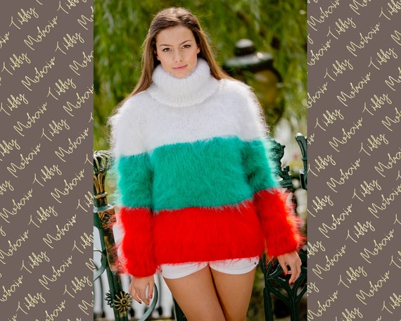 Bulgarian Flag Sweater, Mohair Sweater, Fluffy Pullover, Knit Sweater, T neck Sweater, Knitted Turtleneck Sweater, Men Mohair Sweater T114