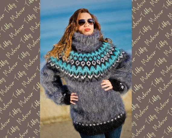 Icelandic Sweater, Fair Isle Sweater, Mohair Sweater, Nordic Sweater, Chunky Jumper Ski Sweater, Turtleneck, Hand Knit women sweate T186