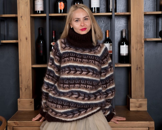 Ready to ship sweater in size 2XL, Great Scandinavian style sweater, Icelandic jumper in brown colours T839W