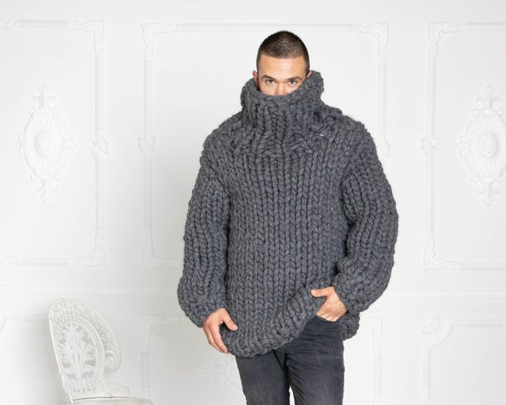 12 strands Chunky Knit Wool Sweater, Gray woolen Hand knit Pullover T634M