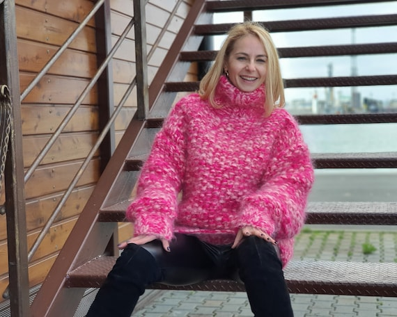 8 strands Pink Mohair Sweater, Moss stitch Sweater, Hand Knitted Sweater, Fluffy Sweater T950
