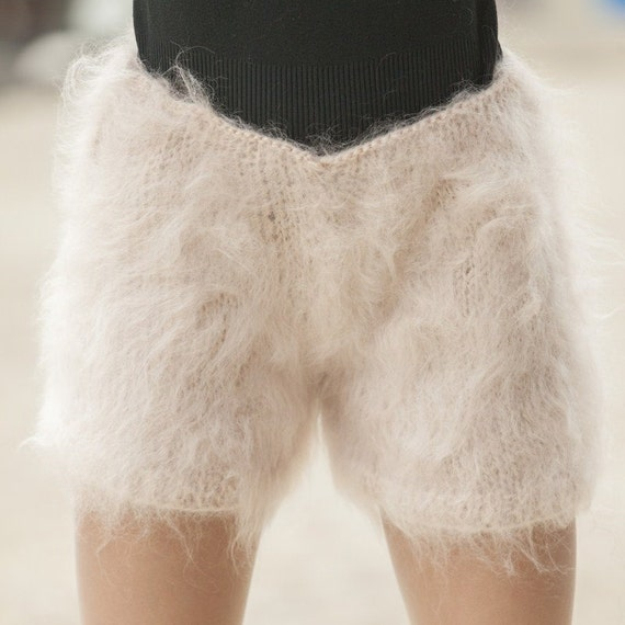 Beige Mohair Shorts , Hand Knit Boxers, Fluffy Shorts, Fetish Panties, Mohair Boxers, Fuzzy Shorts, Hand Knitted Pants, Fuzzy Underwear T486