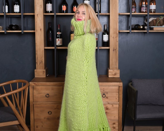 Extremely Comfortable Women's Wool Poncho in Green Color , Chunky knit body cover T812W