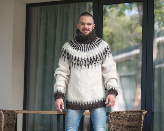 Lopapeysa alpaca men sweater. lopapeysa Iceland sweater. regular fit alpaca sweater. Cream pullover. icelandic sweater T863M