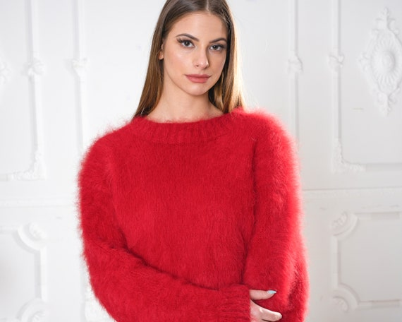 Red Hairy Suri Alpaca sweater, Fluffy and Fuzzy handknitted jumper made in high quality long haired yarn , non Mohair Sweater T956