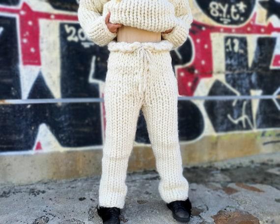 2.5 kg Merino wool trouser, Chunky arm knit pants, Giant pants T909
