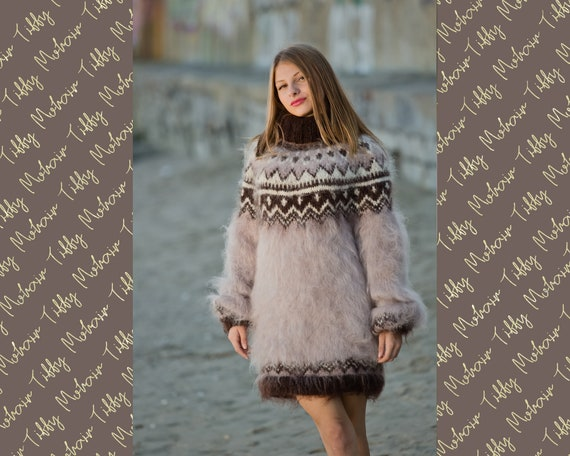 Beige Mohair Sweater, Icelandic Sweater, Knitted Sweater, Men Mohair Sweater, Norwegian Sweater, Fluffy Huge Sweater, Nordic Sweater T134