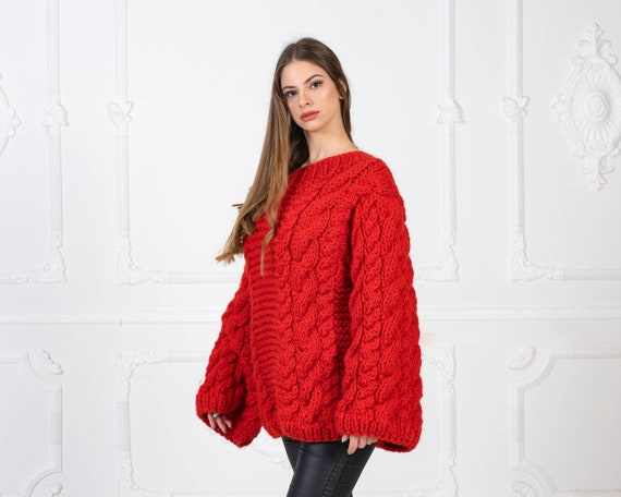 Ready to ship in size 6XL, Red Cable Knit Woolen Sweater, 100 % Wool Jumper, Hand Knit Wooly Pullover T967