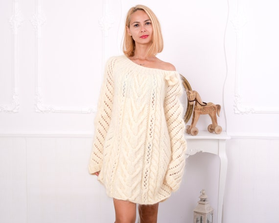 Fluffy Cream Mohair Sweater, Chunky Turtleneck, Cable Knit Pullover, Sexy Sweater , Hand Knit men sweater, knit women sweater