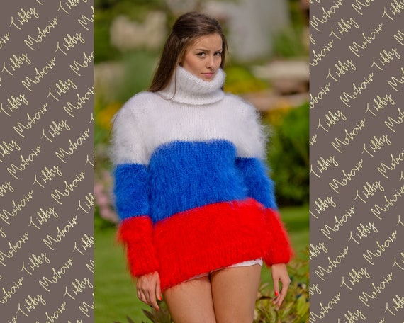 Russian Flag Sweater, Mohair Sweater, Fluffy Pullover, Hand Knit Sweater, Fuzzy Sweater, Knitted Turtleneck Sweater, Men Mohair Sweater T119